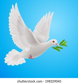 Raster version. Dove of peace flying with a green twig after flood on a blue background