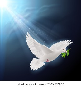 Raster version. Dove of peace flying with a green twig after flood on dark background