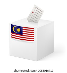 Raster version. Election in Malaysia: ballot box with voting paper on white background