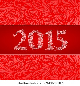 Raster version. Elegant red banner for year 2015 over ornate floral pattern background