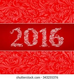 Raster version. Elegant red banner for year Twenty-Sixteen over ornate floral pattern background