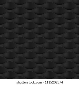 Raster version. Embossed Texture Wave. Seamless Pattern in Black Color