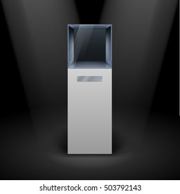 Raster version. Empty Glass Showcase in Cube Form for Presentation on Black Background