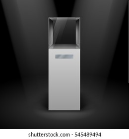 Raster version. Empty Glass Showcase in Cube Form for Presentation on Black