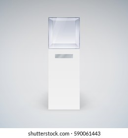 Raster version. Empty Glass Showcase in Cube Form for Presentation on White Background