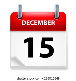 Raster version. Fifteenth  in December Calendar icon on white background