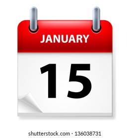 Raster version. Fifteenth January in Calendar icon on white background