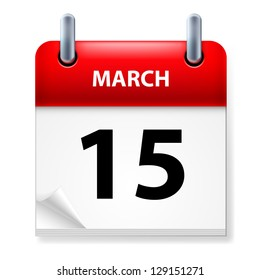 Raster version. Fifteenth March in Calendar icon on white background