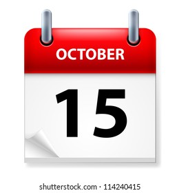 Raster version. Fifteenth October in Calendar icon on white background