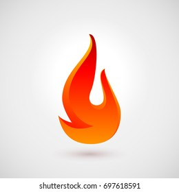 Raster version. Fire Flames. Icon Illustration for Design Over Gray Background