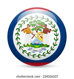 Raster version. Flag of Belize as round glossy icon. Button with Belizean flag
