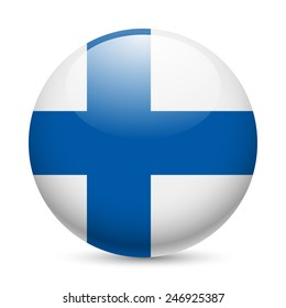 Raster version. Flag of Finland as round glossy icon. Button with Finland flag