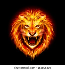 Raster version. Head of aggressive fire lion isolated on black background.