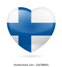 Raster version. Heart with Finnish flag colors. I love Finland