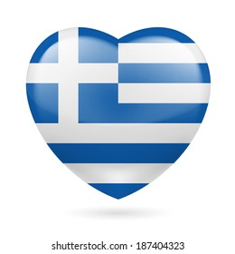 Raster version. Heart with Greek flag colors. I love Greece