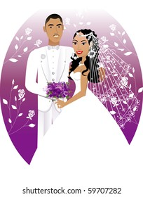 Raster version Illustration. Illustration. A beautiful bride and groom on their wedding day. Wedding Couple 5.