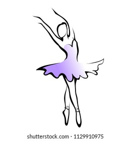 Raster version illustration  of classical ballet, silhouette ballet dancer