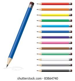 Raster version.  illustration of color pencils on white background #2