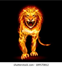 Raster version. Illustration of fire lion isolated on black background