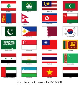 Raster Version Illustration of the Flags of different countries of the world. They are organized by location then in alphabetical in order. Dozens of flags in each file and hundreds all together.