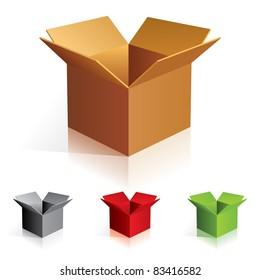 Raster version. Illustration of open color cardboard boxes. For design.