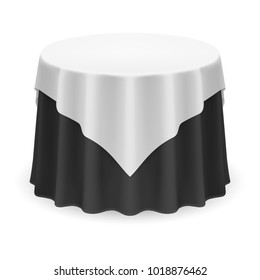 Raster version. Isolated Blank Round Table with Tablecloth in White and Black Colors