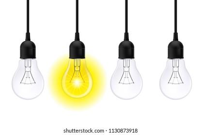 Raster version. Light bulb illuminated. Stylish Bulbs Conceptual Digital Idea Design Background, Light bulb banner on White Background
