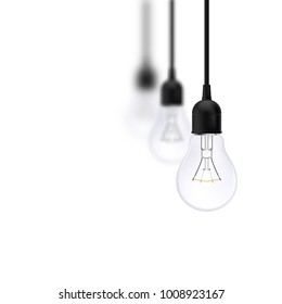 Raster version. Light bulb on isolated background. Background for Info-graphics, Presentations. Business Concept ideas.