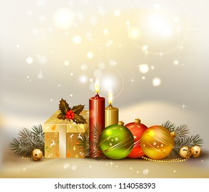 raster version of light Christmas background with evening balls, candles and gift
