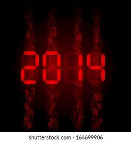 Raster version. New Year 2014: red digital numerals on black.