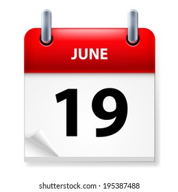 Raster version. Nineteenth June in Calendar icon on white background