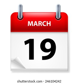 Raster version. Nineteenth March in Calendar icon on white background