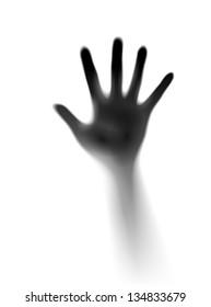 Raster version. Open hand in the mist. Illustration of designer