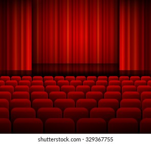 Raster version. Open theater red curtains with light and seats. EPS 10