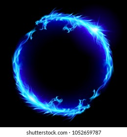 Raster version. Ouroboros Concept Sign, Alchemical Magical Symbol of Reincarnation and Kundalini. Ring of Blue Fire of the Dragons