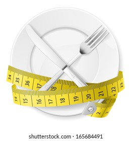 Raster version. Plate with measuring tape and crossed fork and knife. Diet concept.