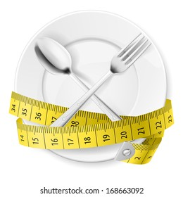 Raster version. Plate with measuring tape and crossed fok and spoon. Diet concept.