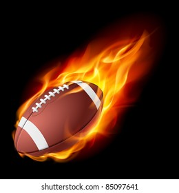 Raster version. Realistic American football in the fire. Illustration on white background.