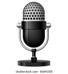 Raster version. Realistic retro microphone number two. Illustration on white background for design