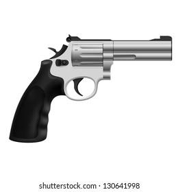 Raster version. Realistic Revolver. Illustration on white background for design