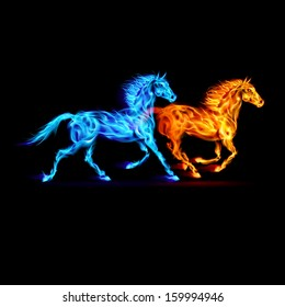 Raster version. Red and blue fire horses on black background.