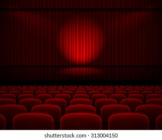 Raster version. Red curtain from the theatre with a spotlight and row chairs