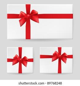 Raster version. Red gift bow. Illustration on white background for design
