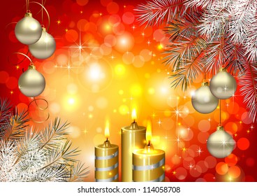 raster version of Red holiday festive background with burning candles and Christmas bauble
