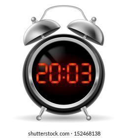 Raster version. Retro round alarm clock with modern digital face. Orange numbers on black background. Illustration on white.