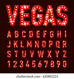 Raster version. Retro Volumetric Signboard Letters with Red Light Bulbs