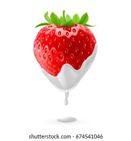 Raster version. Ripe Strawberry Dipped in Sour Cream. Illustration on White Background