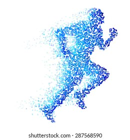 Raster version. Running man with blue pieces isolated on white