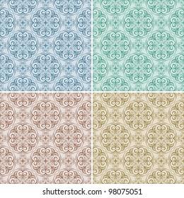 raster version, seamless floral spring patterns