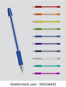 Raster version. Set of color plastic gel pens isolated on grey background